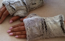 Load image into Gallery viewer, Silver Fox Gray Faux Fur Half Mittens
