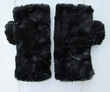 Load image into Gallery viewer, Black Faux Fur Half Mittens