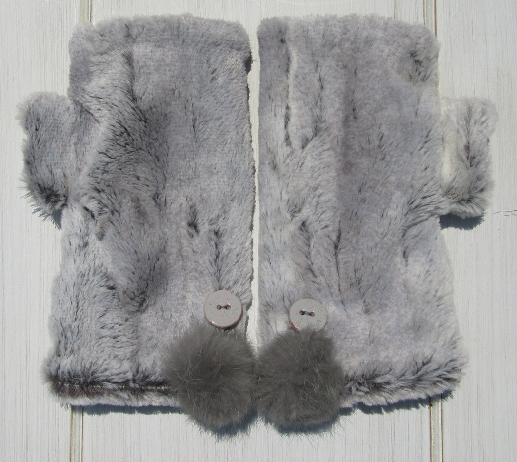 Silver Gray Faux Fur Mittens with Handmade Ceramic Buttons and Rabbit Fur Pom Poms