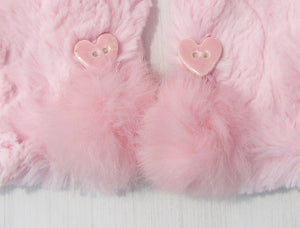 Pink Faux Fur Mittens with Handmade Ceramic Heart Buttons and Rabbit Fur Pom Poms