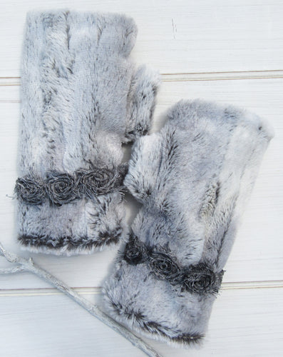 Gray Faux Fur - French Floral Trim