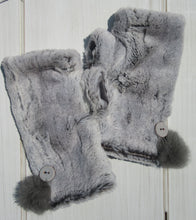 Load image into Gallery viewer, Silver Gray Faux Fur Mittens with Handmade Ceramic Buttons and Rabbit Fur Pom Poms