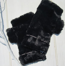 Load image into Gallery viewer, Black Faux Fur Mittens with Suede-like Beaded Band