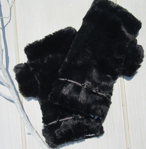 Black Faux Fur Mittens with Suede-like Beaded Band