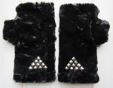 Load image into Gallery viewer, Black Faux Fur Mittens accented with Metal Rivets