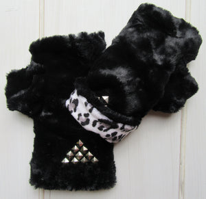 Black Faux Fur Mittens accented with Metal Rivets