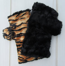 Load image into Gallery viewer, Black Faux Fur Half Mittens - Tiger Print Lining
