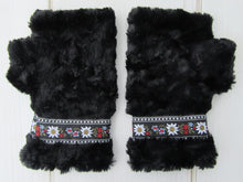Load image into Gallery viewer, Black Faux Fur Mittens with Edelweiss Jacquard Trim