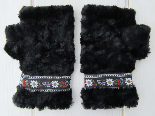 Black Faux Fur Mittens with Edelweiss Jacquard Trim