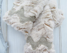 Load image into Gallery viewer, Beige Faux Fur - French Linen Ric Rac Trim