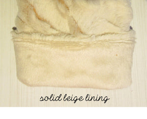 Beige Faux Fur Mittens with Leaf Button Accents