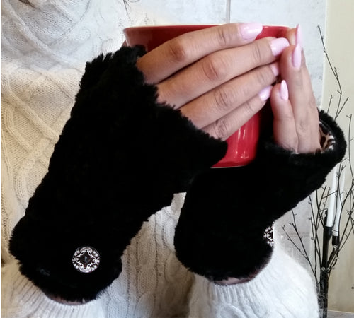 Black Faux Fur Half Mittens with Button Accents