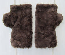 Load image into Gallery viewer, Brown Faux Fur Finger-less Gloves