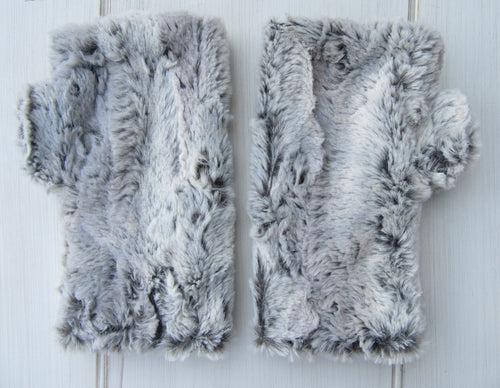 Silver Fox Gray Faux Fur Half Mittens