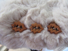 Load image into Gallery viewer, Beige Faux Fur Mittens with Leaf Button Accents