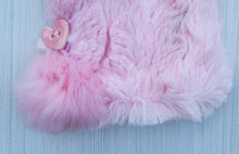 Load image into Gallery viewer, Pink Faux Fur Mittens with Handmade Ceramic Heart Buttons and Rabbit Fur Pom Poms