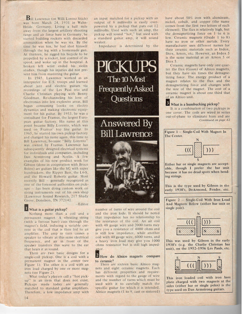 Bill Lawrence And his teachings-Article from Guitar Player Magazine Dec 1975