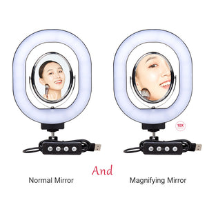 Photography Dimmable LED Selfie Ring Light With Phone Holder USB Plug Tripod