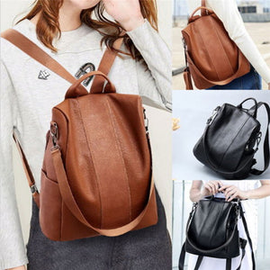Ladies Anti-theft Shoulder Fashion Bag/Backpack (Leather-Waterproof}