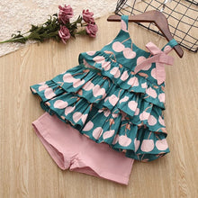 Load image into Gallery viewer, Girls Sets New Spring Summer Floral Children Sleeveless T-shirt+Solid Shorts 2PCS Kids
