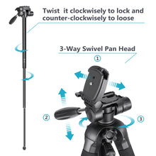 Load image into Gallery viewer, Portable 70 inches/177 cm Aluminum Alloy Camera Tripod Monopod with 3-Way Swivel Pan Head Carrying Bag for Sony/Canon