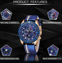 Load image into Gallery viewer, Leather Mens Watches Top Brand Luxury Blue Waterproof Business Watch Relogio Masculino