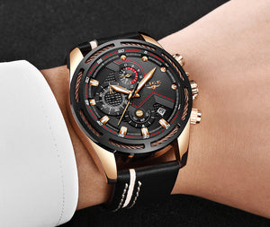 Leather Mens Watches Top Brand Luxury Blue Waterproof Business Watch Relogio Masculino