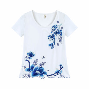Ladies Tops Cotton Floral Embroidered Tee Shirt Femme Casual Clothes