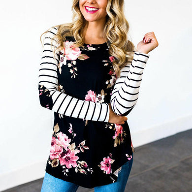 Female T Shirt Striped Sleeve Floral Elbow Patch Full Long Raglan Sleeve Casual Tops