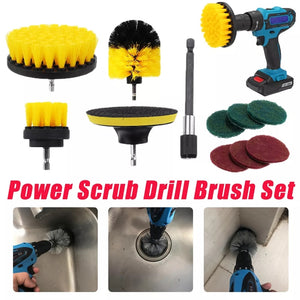 ALLSOME 11Pcs Electric Drill Cleaning Brush with Sponge and Extender