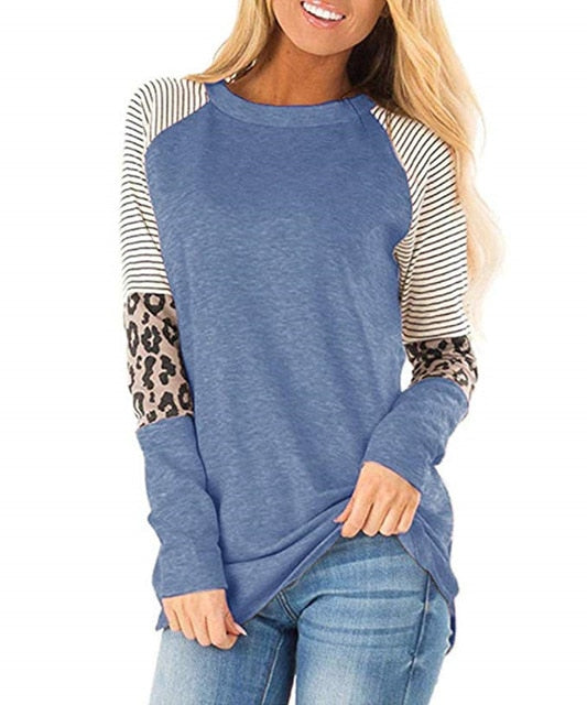 Women's Leopard T Shirts Fashion Stripe Patchwork Long Sleeve O-Neck Streetwear