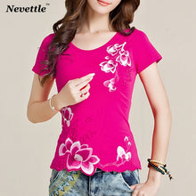 Load image into Gallery viewer, Ladies Tops Cotton Floral Embroidered Tee Shirt Femme Casual Clothes