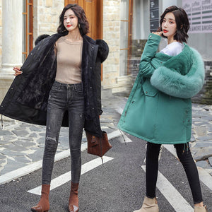Winter Parkas -30 degree hooded fur collar thick snow coat jacket