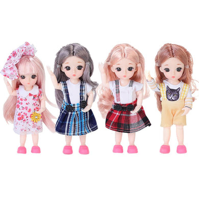 20*10*10cm BJD Doll Mohair Doll With Wig 3D Eyes With Clothes Outfit Shoes Wig Hair Makeup Movable Joints Doll For Girls Gift