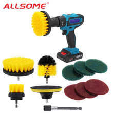 Load image into Gallery viewer, ALLSOME 11Pcs Electric Drill Cleaning Brush with Sponge and Extender
