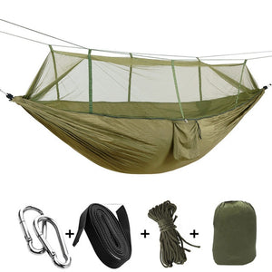 army green camping hammock with mosquito net