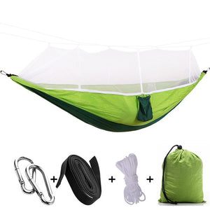 green camping hammock with mosquito net