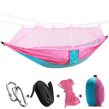 Load image into Gallery viewer, pink blue camping hammock with mosquito net