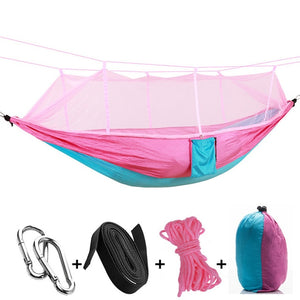 pink blue camping hammock with mosquito net