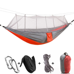 orange grey camping hammock with mosquito net