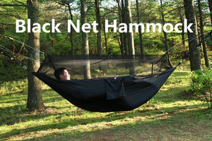 black net camping hammock with mosquito net