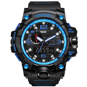 Black Military Watch With Blue Dial