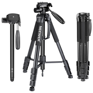 Portable 70 inches/177 cm Aluminum Alloy Camera Tripod Monopod with 3-Way Swivel Pan Head Carrying Bag for Sony/Canon