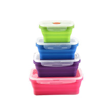 Load image into Gallery viewer, Collapsible Food Storage Containers - 4 Pack Silicone Bento Lunch Boxes, Reusable BPA-Free and Microwave Safe Lunch Containers