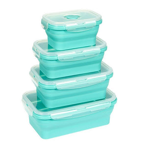 Collapsible Food Storage Containers - 4 Pack Silicone Bento Lunch Boxes, Reusable BPA-Free and Microwave Safe Lunch Containers