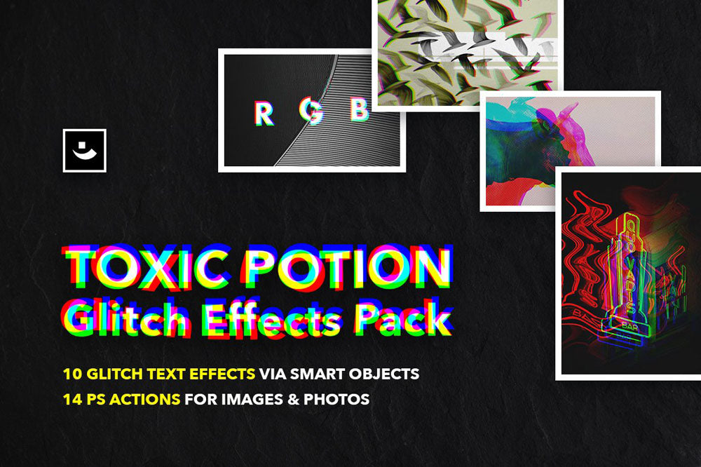 Toxic Potion Glitch Effects for Photoshop