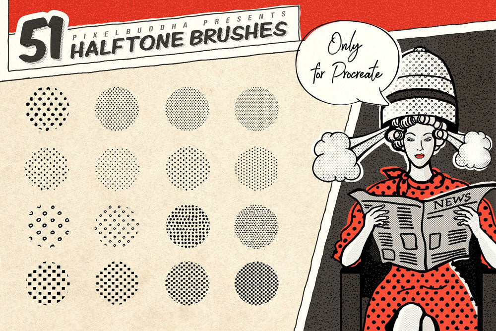 Vintage Comic Book Halftone Procreate Brushes