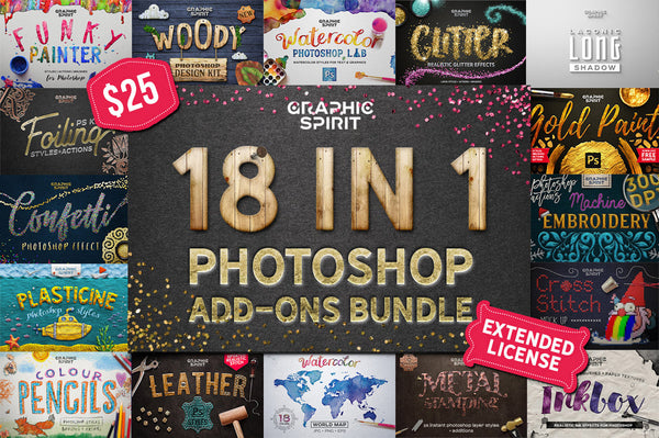18 in 1 Photoshop Add-Ons Master Bundle