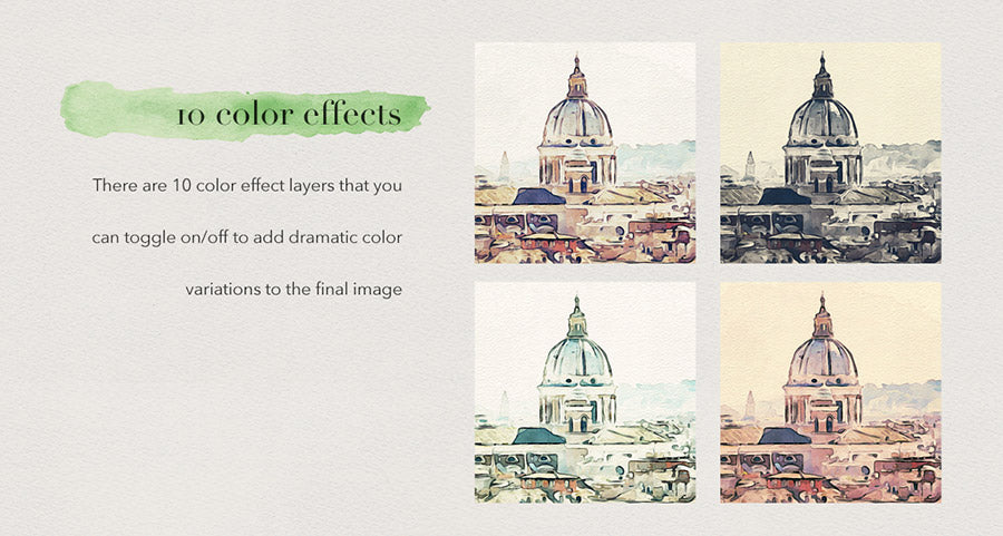 Watercolor Studio Photoshop Template