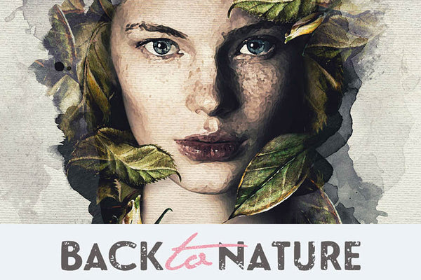 Back to Nature Artistic Watercolor Photoshop Template